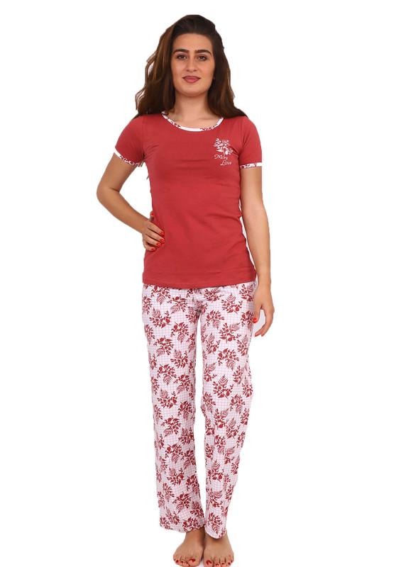 MORE LOVE - More Love Boru Paçalı Yaprak Desenli Pijama Takımı 1999 | Tarçın