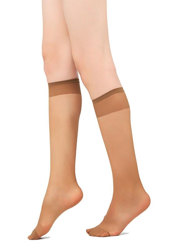 MÜJDE - Müjde Burnu Takviyeli Mat Dizaltı Çorap 004 | Bronz