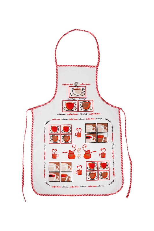 SİMİSSO - Baskılı Mutfak Önlüğü   Kırmızı