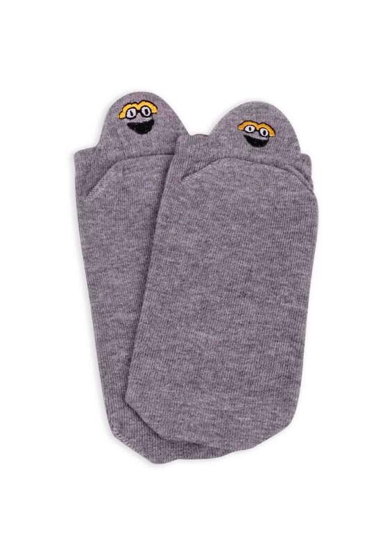 SİMİSSO - Nakış Desenli Kadın Soket Çorap   Gri
