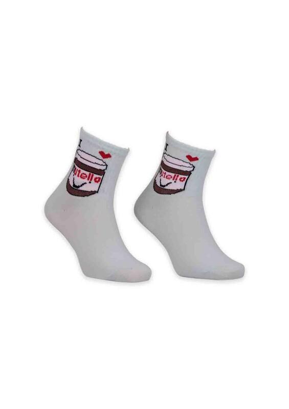 SİMİSSO - Nutella Desenli Bayan Soket Çorap | Su Yeşili