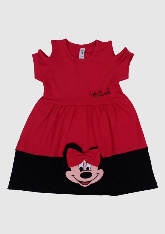 SİMİSSO - Omzu Açık Baskılı Kız Çocuk Elbise | Kırmızı