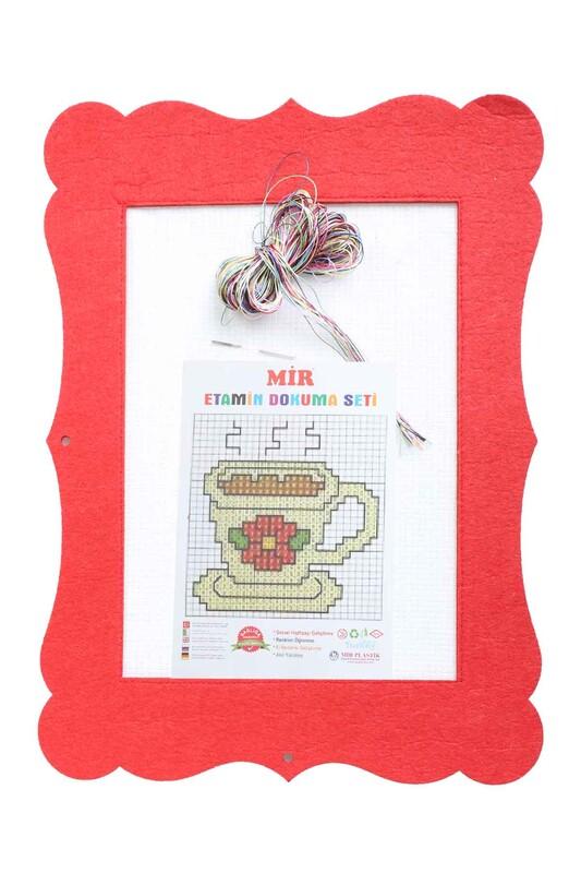 MİR PLASTİK - Keçe Etamin Çalışması Seti Kahve   Kırmızı