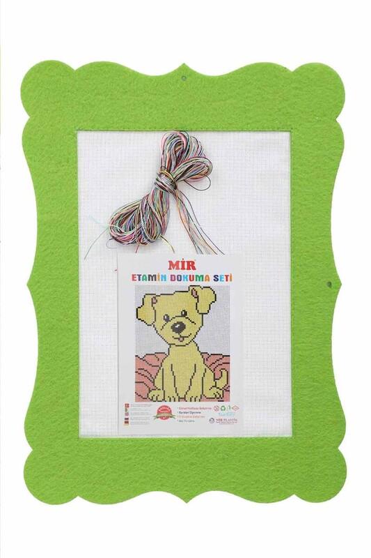 MİR PLASTİK - Keçe Etamin Çalışması Seti Köpek   Fıstık Yeşili