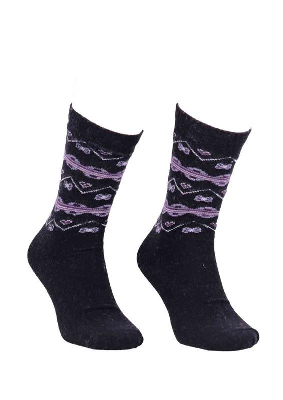 ÖZMEN - Desenli Yün Çorap 3010   Siyah
