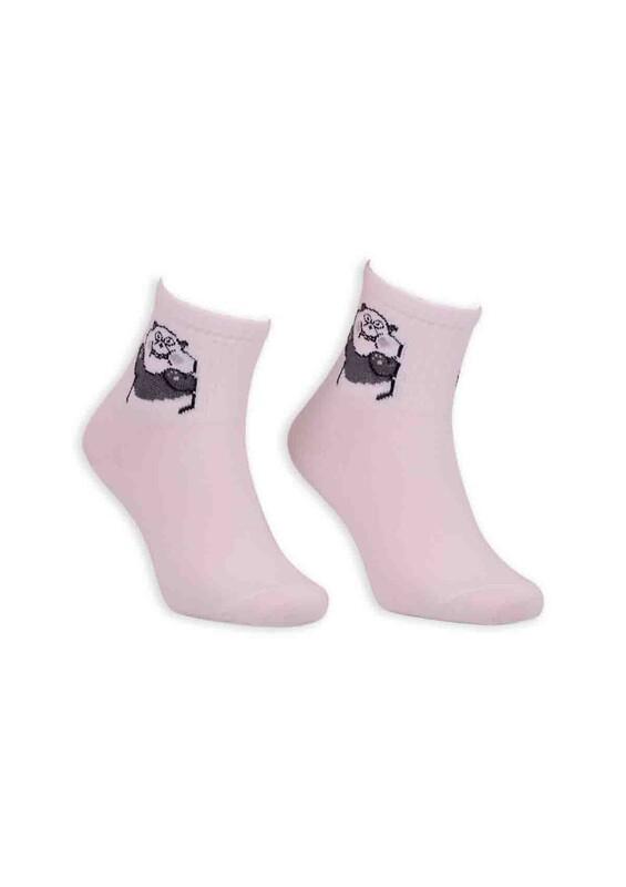 SİMİSSO - Panda Desenli Kadın Soket Çorap | Beyaz