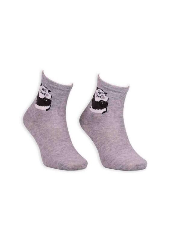 SİMİSSO - Panda Desenli Kadın Soket Çorap | Gri
