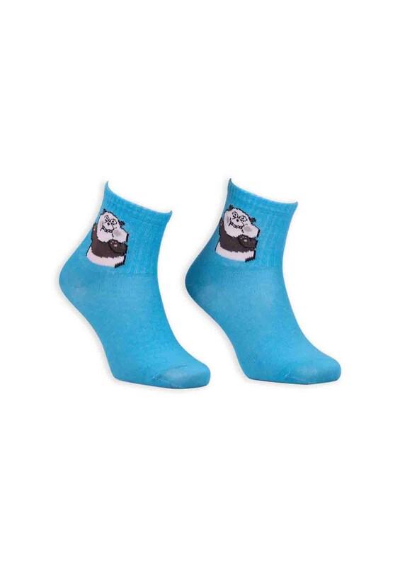 SİMİSSO - Panda Desenli Kadın Soket Çorap | Mavi