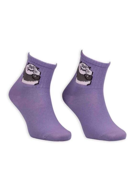 SİMİSSO - Panda Desenli Kadın Soket Çorap | Mor