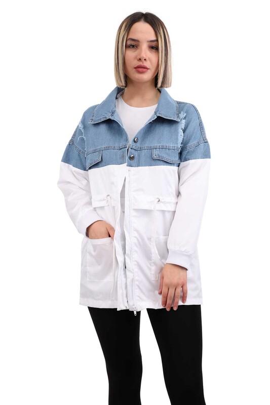 SİMİSSO - Parçalı Kadın Kot Ceket 7634 | Mavi