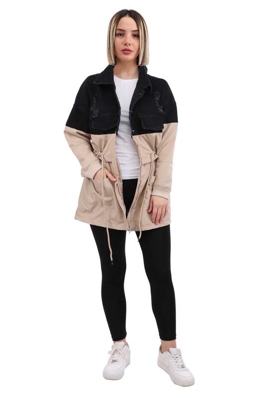SİMİSSO - Parçalı Kadın Kot Ceket 7634 | Siyah