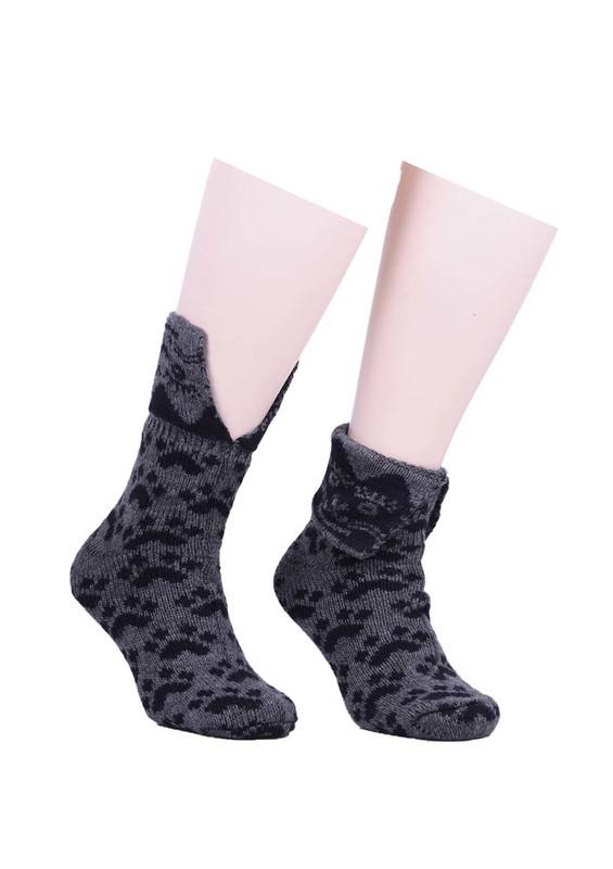 SARA DONNA - Pati Desenli Yün Çorap 524   Füme