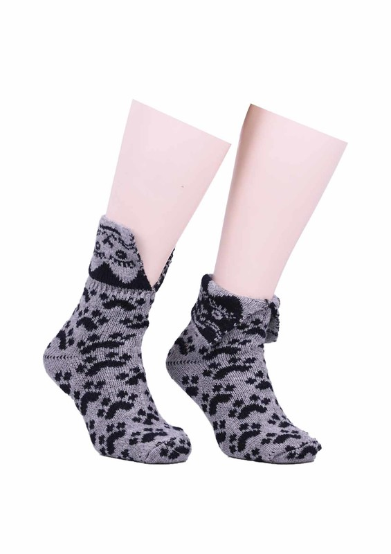 SARA DONNA - Pati Desenli Yün Çorap 524 | Gri
