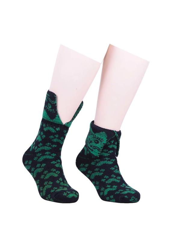 SARA DONNA - Pati Desenli Yün Çorap 524 | Yeşil