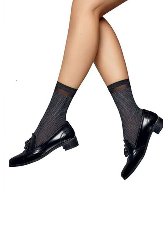 PENTİ - Penti Cross Desenli Soket Çorap | Kül Melanj
