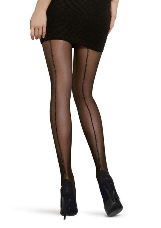 PENTİ - Penti Lovely Simli Nostalji Şeritli Külotlu Çorap | Siyah