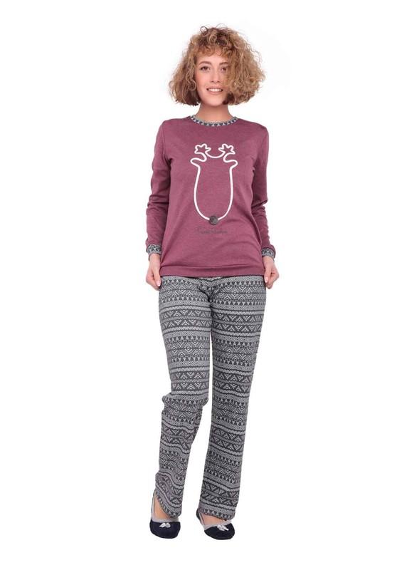 PİERRE CARDİN - Pierre Cardin Bol Paçalı Desenli Pijama Takımı 7221 | Bordo