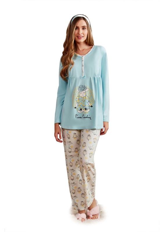 PİERRE CARDİN - Pierre Cardin Kuzu Desenli Hamile Pijama Takımı PC7247 | Mavi