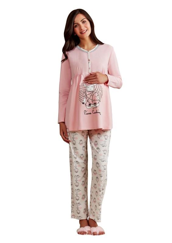 PİERRE CARDİN - Pierre Cardin Kuzu Desenli Hamile Pijama Takımı PC7247 | Pembe