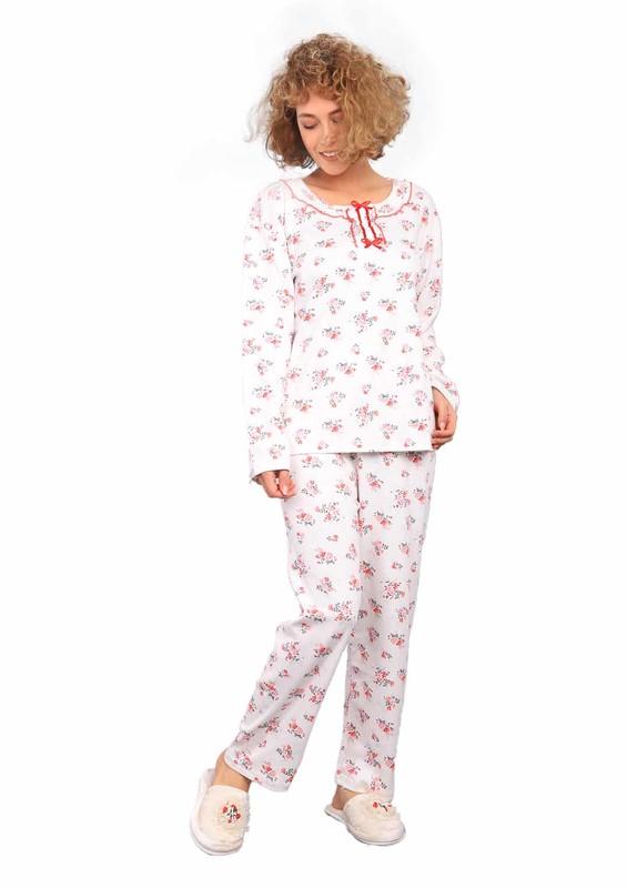 PODYUM - Podyum Yakası Kurdeleli Desenli Pijama Takımı 255 | Kırmızı