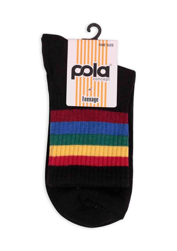 SİMİSSO - Pola Teenage Çizgi Desenli Kadın Soket Çorap | Siyah Çok Renkli