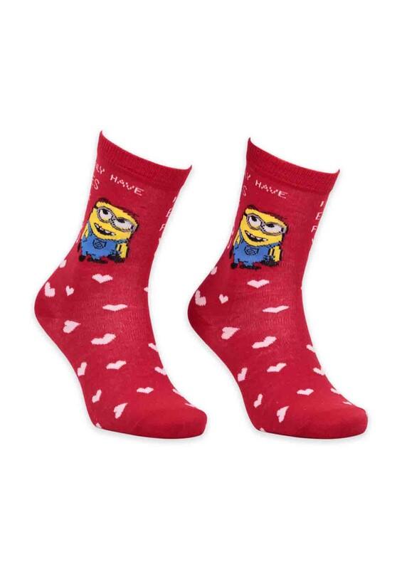 SİMİSSO - Pola Teenage Çizgi Film Desenli Kadın Soket Çorap 003 | Kırmızı