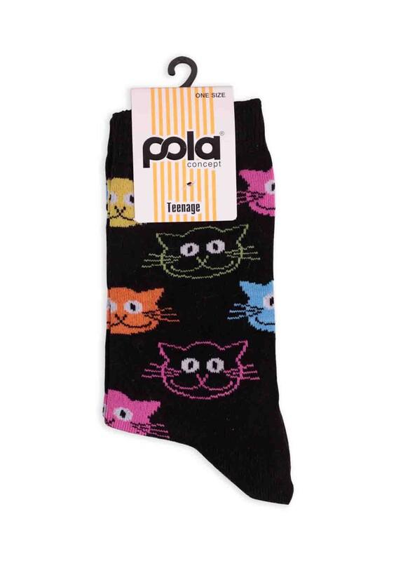 SİMİSSO - Pola Teenage Kedi Desenli Kadın Soket Çorap | Siyah