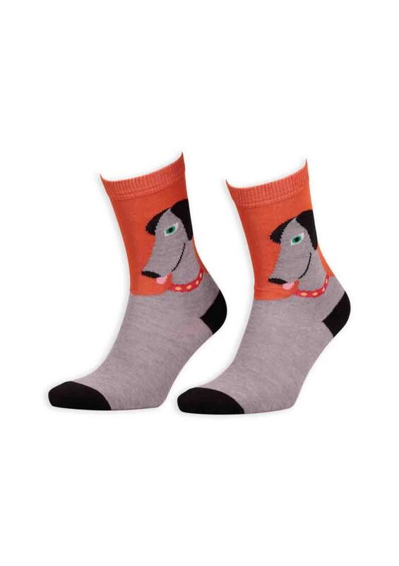 SİMİSSO - Pola Teenage Köpek Desenli Kadın Soket Çorap | Turuncu