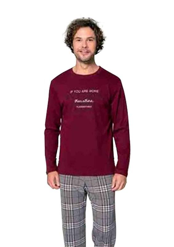 POLEREN - Poleren Boru Paçalı Desenli Pijama Takımı 6234 | Bordo