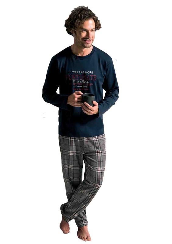 POLEREN - Poleren Boru Paçalı Desenli Pijama Takımı 6234   Lacivert