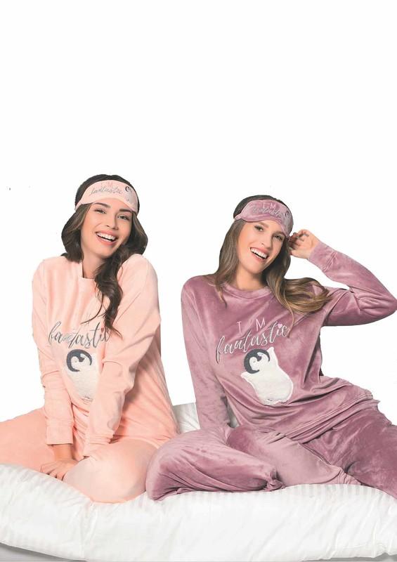 POLEREN - Poleren Desenli Uyku Gözlüklü Pijama Takımı 6117   Lila