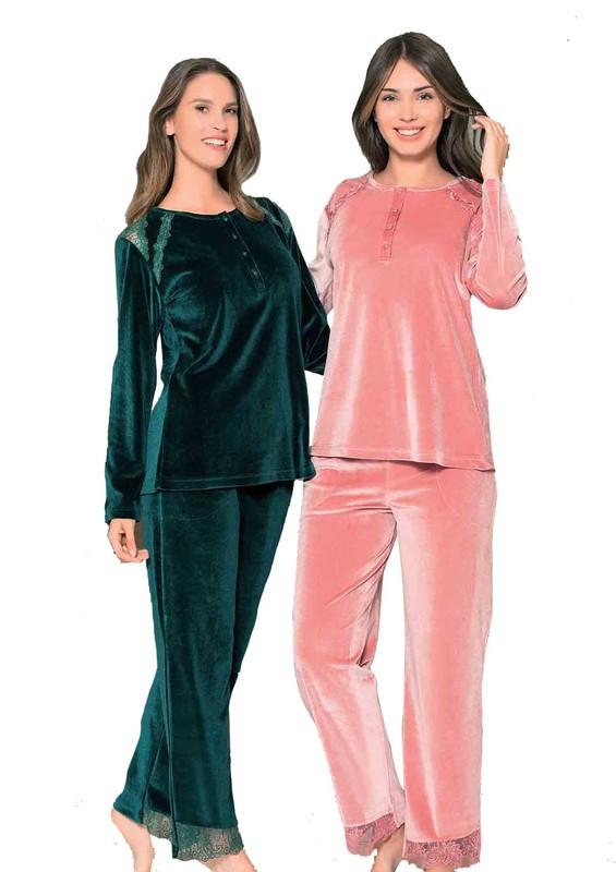 POLEREN - Poleren Güpürlü Geniş Paçalı Pijama Takımı 6182   Gül Kurusu
