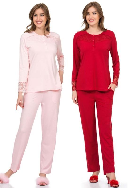 POLEREN - Poleren Yakası Düğmeli ve Güpürlü Pijama Takımı 5956 | Kırmızı