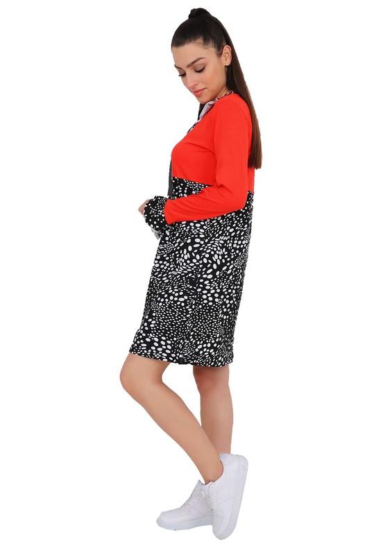 POLKAN - Polkan Yakası ve Kolları Fırfırlı Elbise 4111 | Siyah