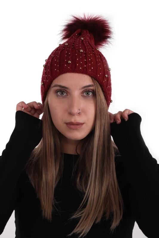 POYRAZ - Ponponlu İncili Kadın Bere | Kırmızı