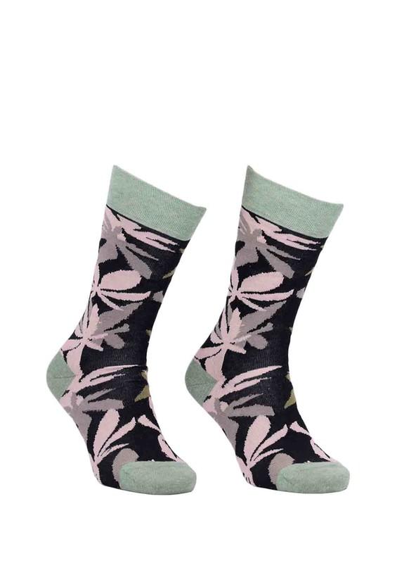 PRO - Pro Platon Yaprak Desenli Unisex Penye Çorap 11002 | Yeşil