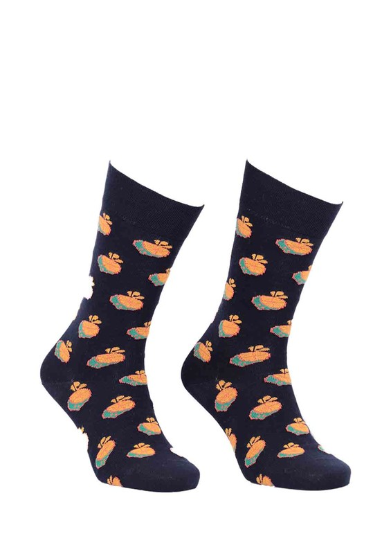 PRO - Pro Thales Portakal Desenli Penye Unisex Çorap 11005   Siyah