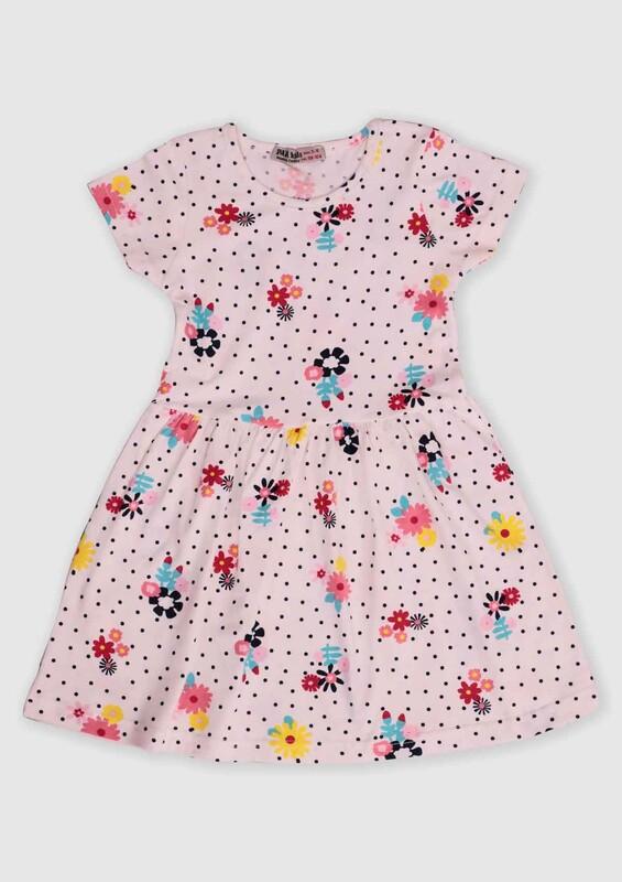 PAPİ KİDS - Puantiye ve Çiçek Baskılı Kız Çocuk Elbise | Beyaz