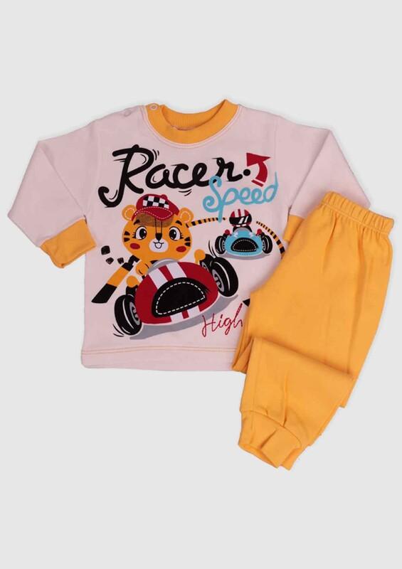 BİLKON - Racer Baskılı Bebek 2'li Takım | Sarı