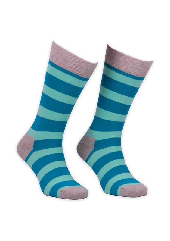 SİMİSSO - Renkli Çizgili Kadın Çorap 002