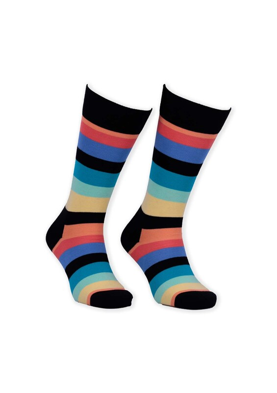 SİMİSSO - Renkli Çizgili Kadın Çorap 005