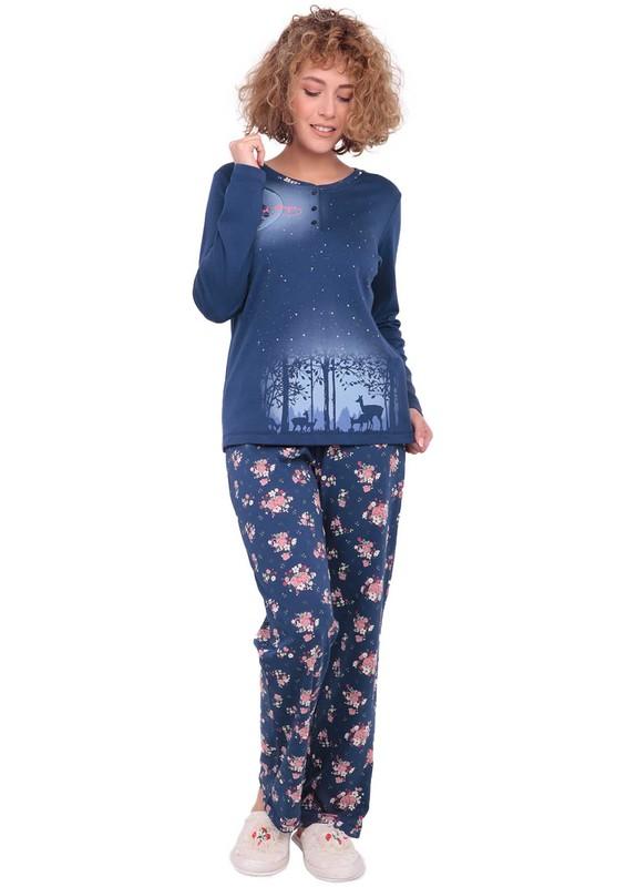 ROLYPOLY - Rolypoly Düğme Detaylı Çiçek Desenli Lacivert Pijama Takımı 3160 | Lacivert