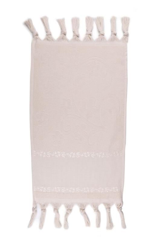 SİMİSSO - Bağlamalı Saçaklı İşlemelik Havlu 30*50 cm | Bej