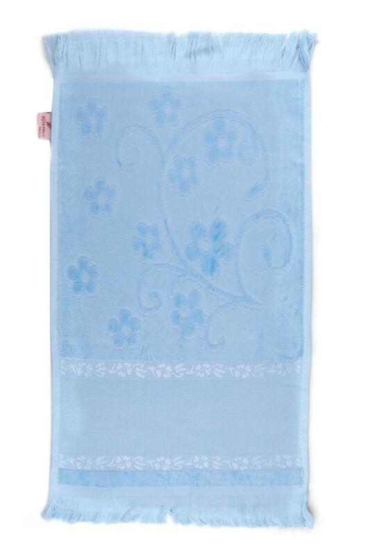 SİMİSSO - Saçaklı İşlemelik Havlu 30*50 cm | Bebe Mavi