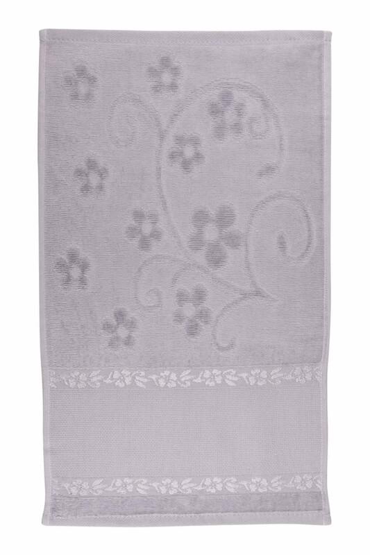 RÜYA - Rüya Pırıltı Saçaksız İşlemelik Havlu 30*50 cm | Gri