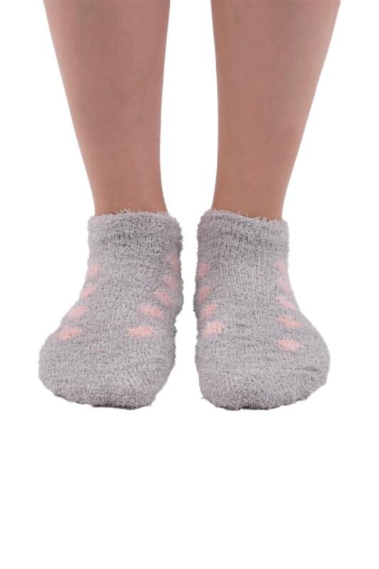 SAHAB - Sabab Kadın Puantiyeli Peluş Çorap 48800 | Gri