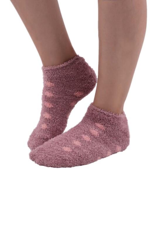 SAHAB - Sabab Kadın Puantiyeli Peluş Çorap 48800   Gül Kurusu