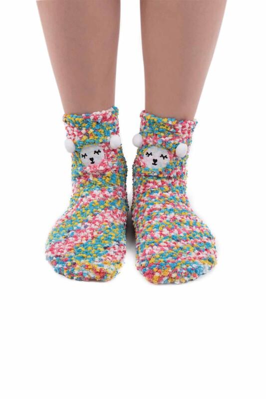 SAHAB - Sahab Kadın Ayıcık Desenli Peluş Çorap 48900 | Çok Renkli
