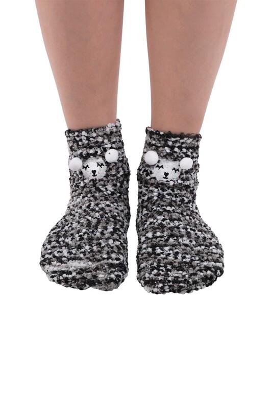 SAHAB - Sahab Kadın Ayıcık Desenli Peluş Çorap 48900 | Siyah