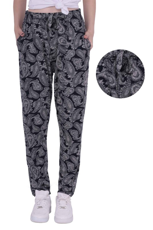ZFR - Şal Baskılı Viskon Boru Paça Pantolon | Siyah